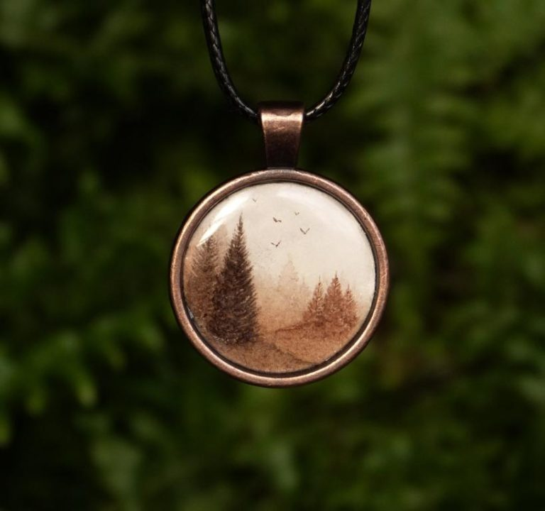 naszyjnik las akwarela watercolour pendant forest