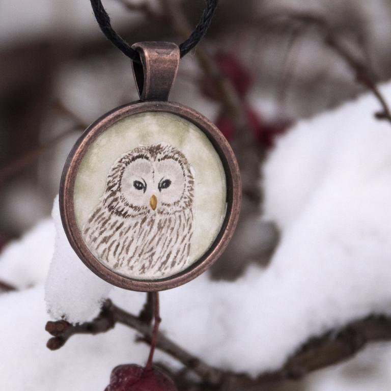 naszyjnik sowa akwarela watercolour pendant owl