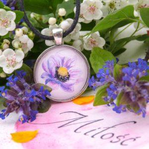 różowy anemon wisior pendant rękodzieło anemone