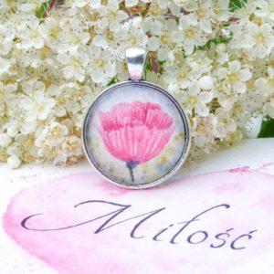 naszyjnik mak rękodzieło handmade poppy pendant